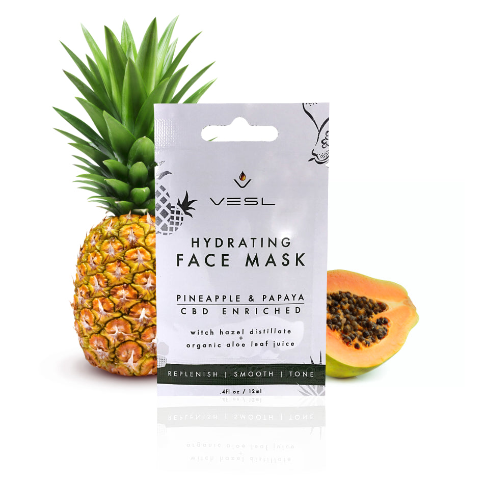 Hydrating CBD face mask with pineapple and papaya skin care VESL