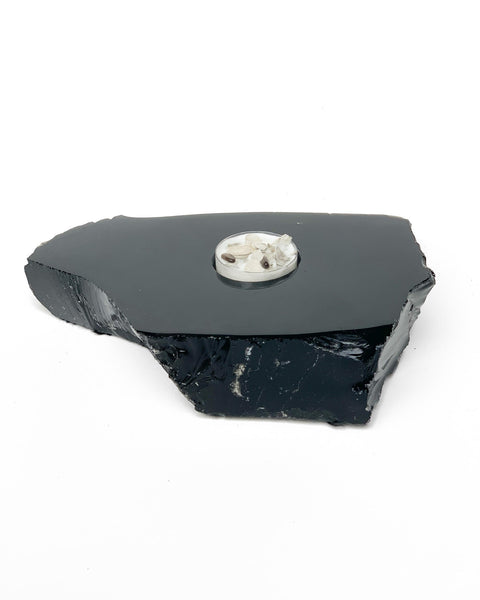 BLACK OBSIDIAN CANDLE HOLDER
