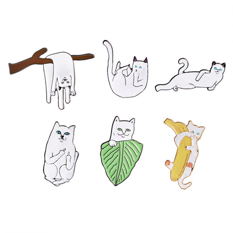 Lazy & Rude Cat Pin Set - Tumblr Pins and Patches - Peachy Pins