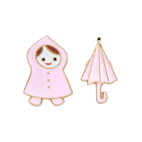 Little Girl With Umbrella Pin Set - Tumblr Pins and Patches - Peachy Pins