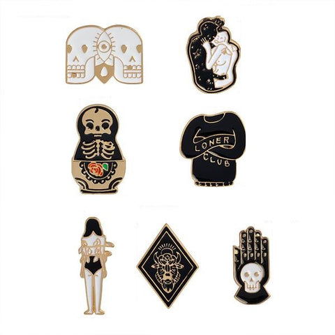 Goth Pin Set - Tumblr Pins and Patches - Peachy Pins