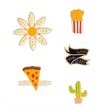 Love & Food Pin Set - Tumblr Pins and Patches - Peachy Pins