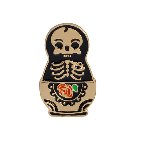 Skeleton Matryoshka Pin - Tumblr Pins and Patches - Peachy Pins