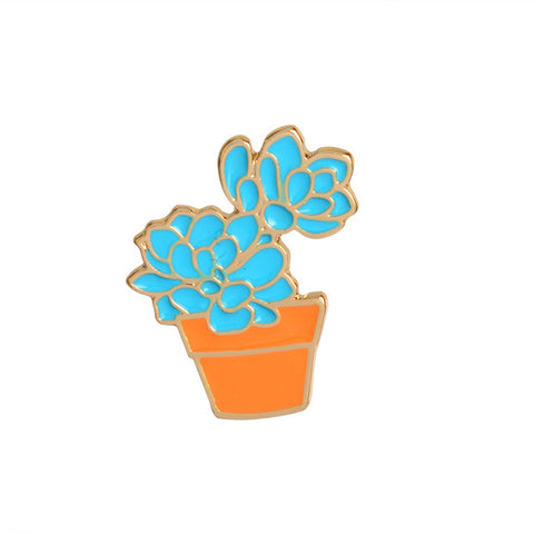 Blue Succulent Plant Pin - Tumblr Pins and Patches - Peachy Pins