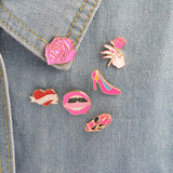 Fancy Pink Pin Set - Tumblr Pins and Patches - Peachy Pins