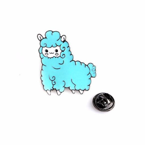 Blue Alpaca Pin - Tumblr Pins and Patches - Peachy Pins