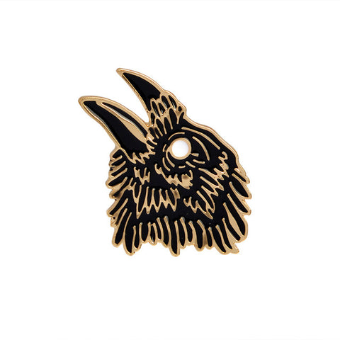 Crow Face Pin - Tumblr Pins and Patches - Peachy Pins