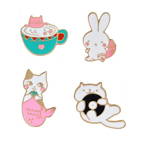 Relaxing Cats Pin Set - Tumblr Pins and Patches - Peachy Pins