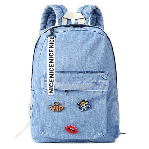 Denim Backpack (2 styles) - Tumblr Pins and Patches - Peachy Pins