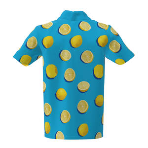 Lemon Pattern Golf Performance Polo Shirt Blue