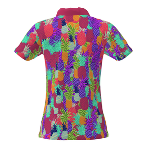 Women Pineapple Camo Pattern Golf Performance Polo Shirt