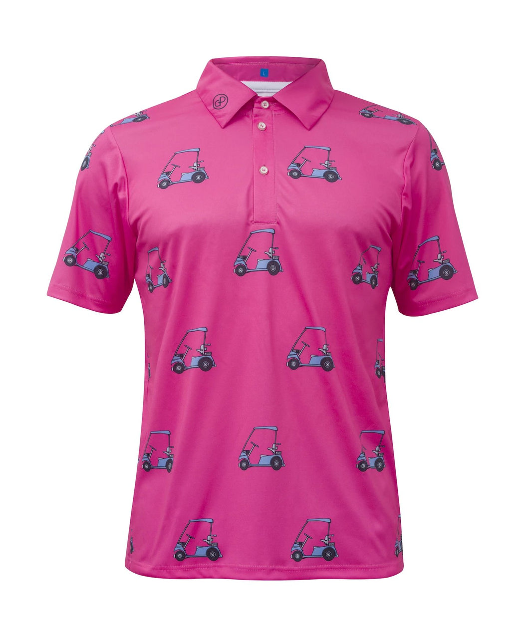 Pink Golf Cart Performance Polo Shirt