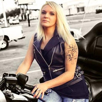 Sexy Goddess Leather Motorcycle Vest For Women