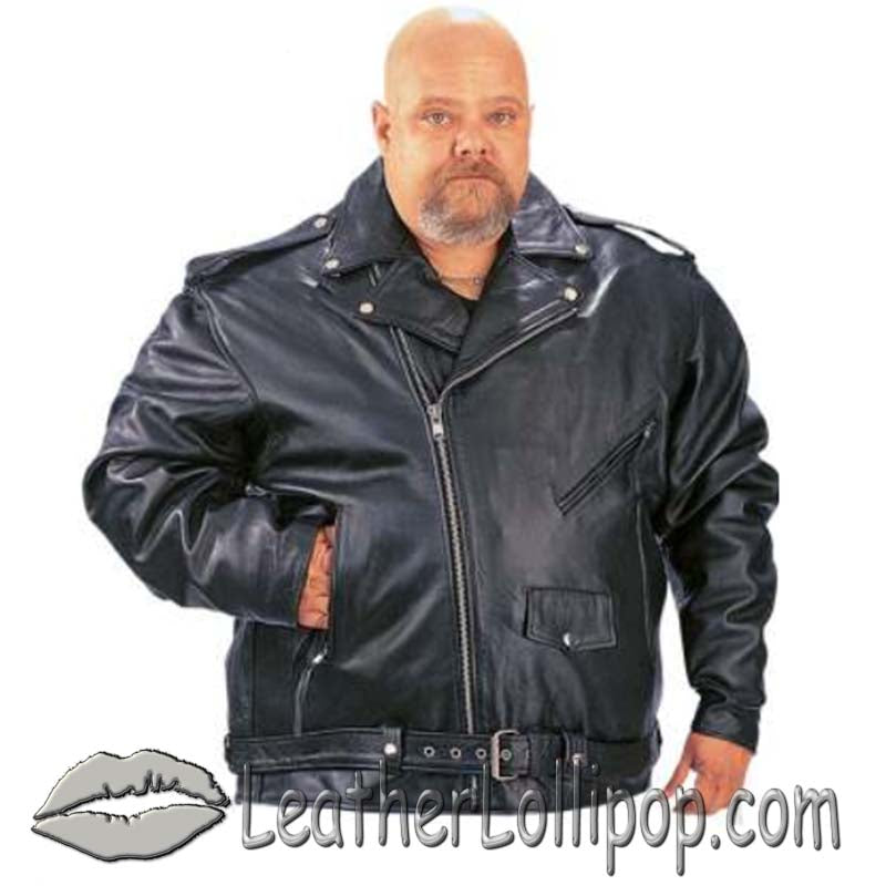 Mens Big Size Classic Style Motorcycle Jacket with Side Laces - SKU LL-014.00-UN