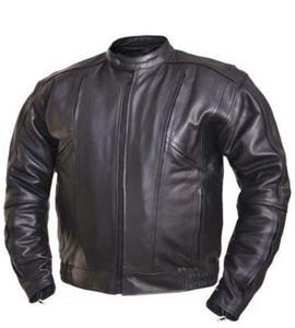 Mens Big and Tall Racer Euro Style Motorcycle Leather Jacket - SKU LL-0209.BT-UN