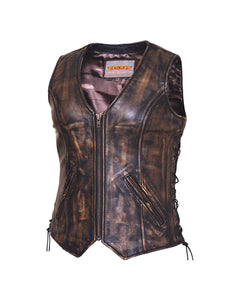 UNIK Ladies Nevada Brown Ultra Leather Motorcycle Vest - Leather Lollipop