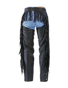 UNIK Ladies Premium Leather Motorcycle Chaps With Fringe - SKU LL-733-00-UN - Leather Lollipop