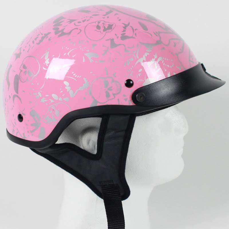 DOT Chrome and Powder Pink Boneyard Motorcycle Shorty Helmet / SKU GRL-1VBYP-HI