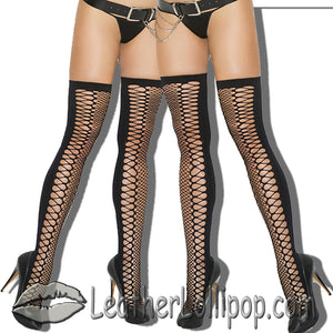 Two Pair of Ladies Black Zig Zag Net Thigh Highs - SKU LL-1106-X2-EML