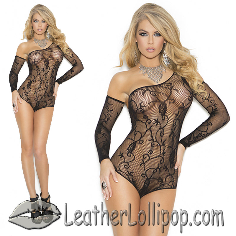 Ladies Black Floral Pattern Fishnet Teddy WIth Matching Gloves - SKU LL-1147-1147Q-EML - Leather Lollipop