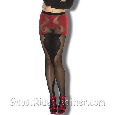 Ladies Black and Red - Sheer and Opaque - With Heart Detail Pantyhose- SKU LL-1153-EML - Leather Lollipop