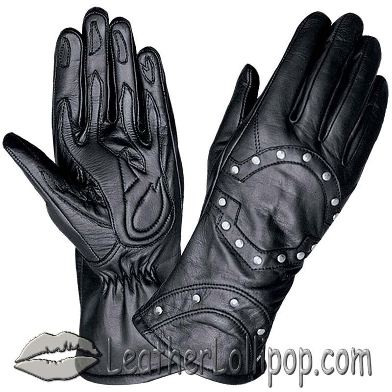 Ladies Full Finger Leather Motorcycle Riding Gloves With Studs - SKU LL-1444.00-UN