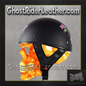 Flat Black Purple Rose DOT Motorcycle Helmet / SKU GRL-HS1100-D1-FLAT-DL