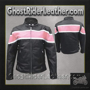 Ladies Racer Biker Leather Jacket With Pink Stripe / SKU GRL-AL2173-AL