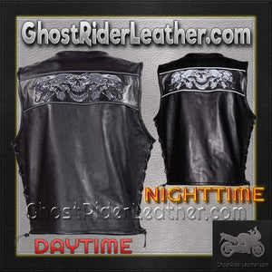 Mens Leather Vest with Night Reflective Skulls and Concealed Carry Pockets / SKU GRL-MV8025-DL