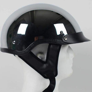 DOT Real Chrome Motorcycle Shorty Helmet / SKU GRL-1C-HI
