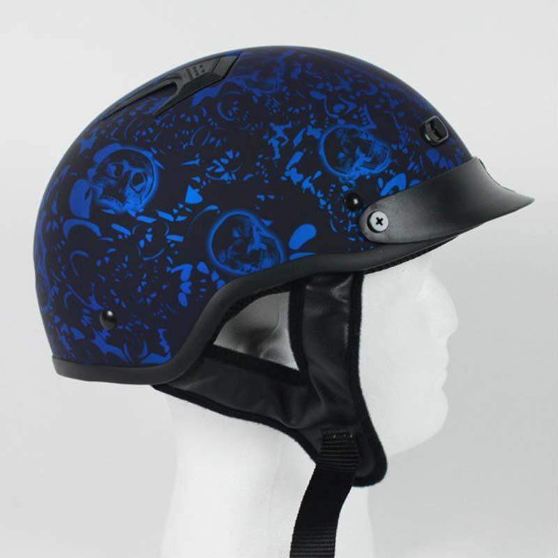 DOT Flat Blue Boneyard Motorcycle Shorty Helmet / SKU GRL-1FBYB-HI
