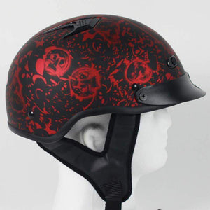 DOT Flat Red Boneyard Motorcycle Shorty Helmet / SKU GRL-1FBYR-HI