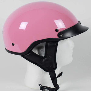 DOT Gloss Pink Motorcycle Shorty Helmet - SKU LL-1P-HI - Leather Lollipop