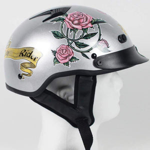 DOT Silver Lady Rider Vented Motorcycle Shorty Helmet / SKU GRL-1VSR-HI