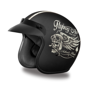 DOT Daytona Cruiser Flying Aces Open Face Motorcycle Helmet - SKU LL-DC6-FAC-DH - Leather Lollipop