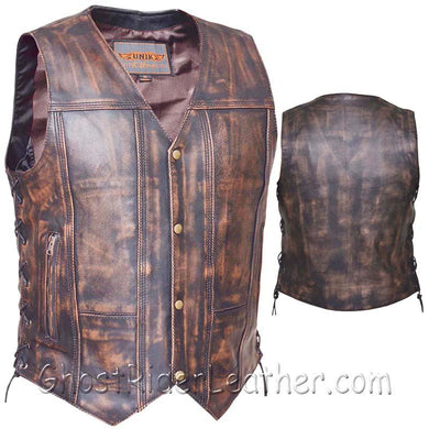 Mens Concealed Carry Nevada Brown 10 Pocket Naked Leather Vest - SKU GRL-2632.ABR-UN