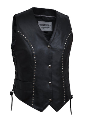 UNIK Ladies Studded Lightweight Leather Vest - Leather Lollipop
