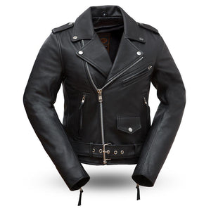 Rockstar - Women's Leather Motorcycle Jacket - WBL1082 - Leather Lollipop