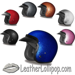 DOT Daytona Cruiser Metal Flake Color Choice Open Face Motorcycle Helmet - SKU LL-DC7-A-DH - Leather Lollipop