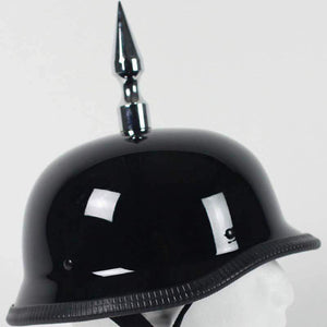 4.5 Inch Spike German Novelty Motorcycle Helmet Flat or Gloss / SKU GRL-4.5INCH-SPIKE-GERMAN-NOV-HI - Ghost Rider Leather