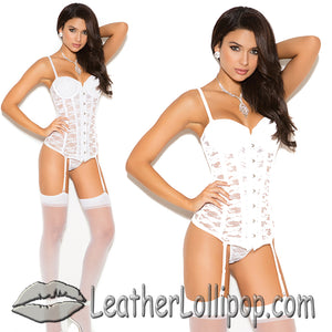 Ladies White or Black Bustier With Matching G-String - SKU LL-4140-EML - Leather Lollipop