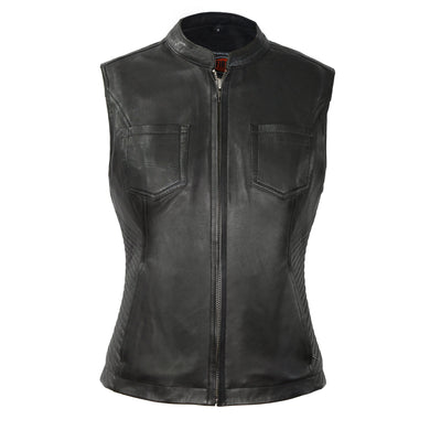 Envy - Women's Motorcycle Leather Vest - Leather Lollipop