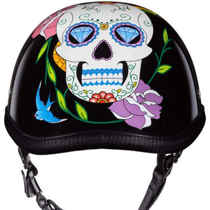 Eagle Style with Diamond Sugar Skull Novelty Motorcycle Helmet - SKU LL-6002DS-DH - Leather Lollipop