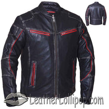Mens Black With Red Trim Durango Leather Jacket with Concealed Carry Pockets - SKU LL-6633.01-UN - Leather Lollipop