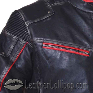Mens Black With Red Trim Durango Leather Jacket with Concealed Carry Pockets - SKU LL-6633.01-UN