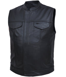 UNIK Men's SOA Style Motorcycle Vest - SKU LL-6655.NK-UN - Leather Lollipop