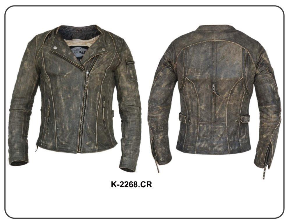 UNIK Ladies Premium Leather Motorcycle Jacket in Crispy Brown - Leather Lollipop