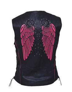 UNIK Ladies Motorcycle Premium Leather Vest - Leather Lollipop