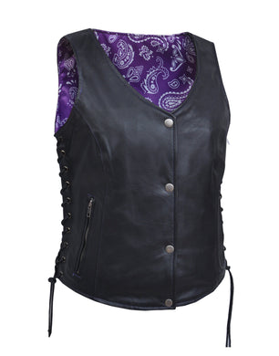 UNIK LADIES VEST WITH PURPLE PAISELY LINER - Leather Lollipop