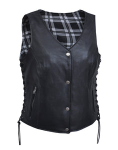 UNIK LADIES VEST WITH BLACK /WHITE FLANNEL LINER - Leather Lollipop